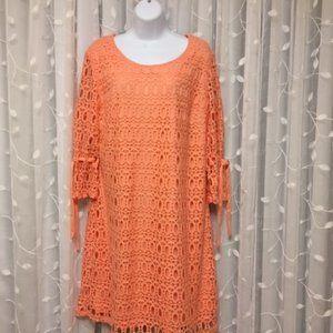 R&K Sheath Orange Dress with Crocheted Shell sz 18